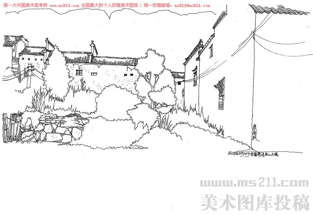 风景速写素描临摹作品素描风景速写教程超简单的